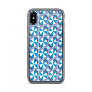 Blue Geometric Abstract Pattern iPhone Case